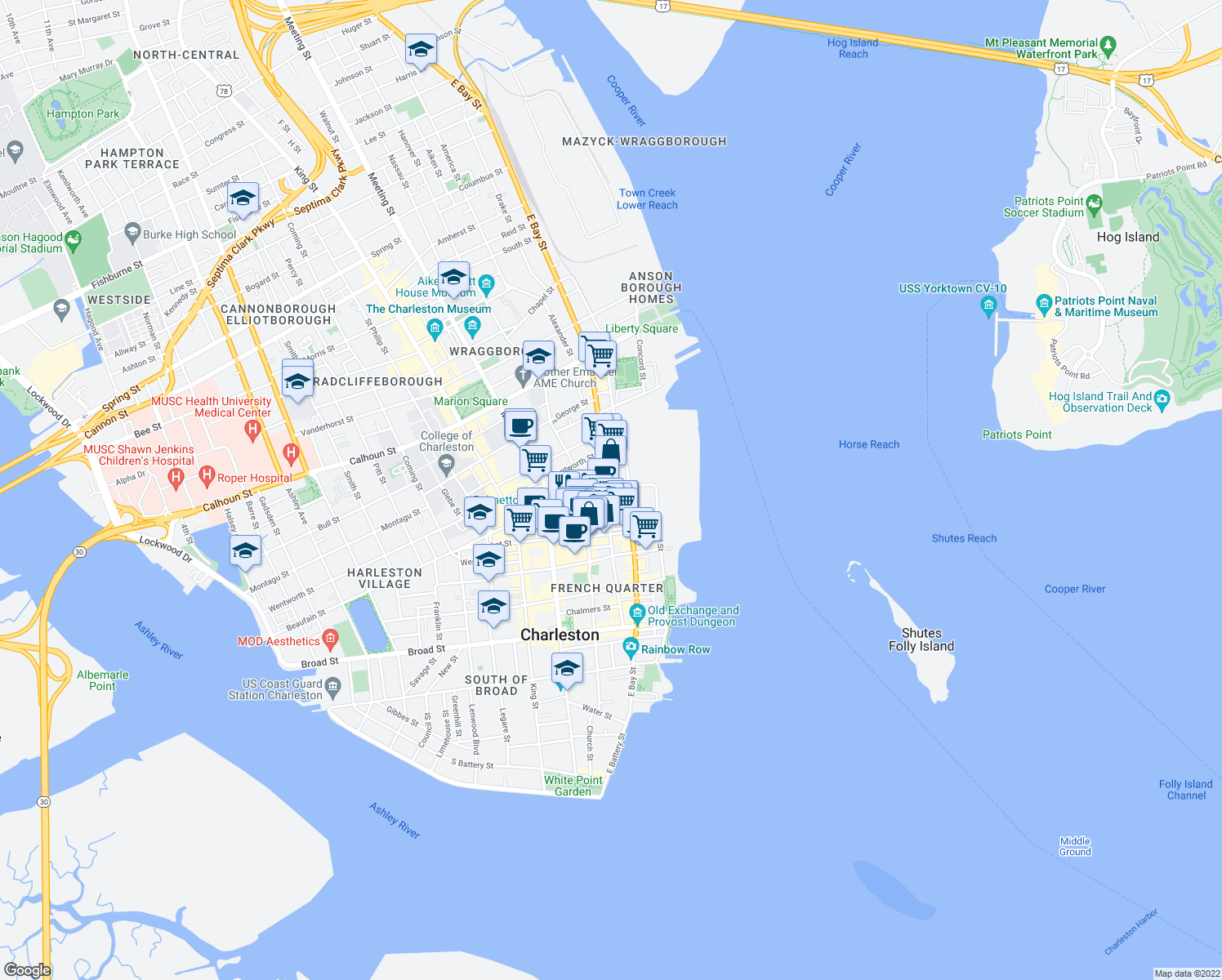 map of restaurants, bars, coffee shops, grocery stores, and more near 259 East Bay Street in Charleston