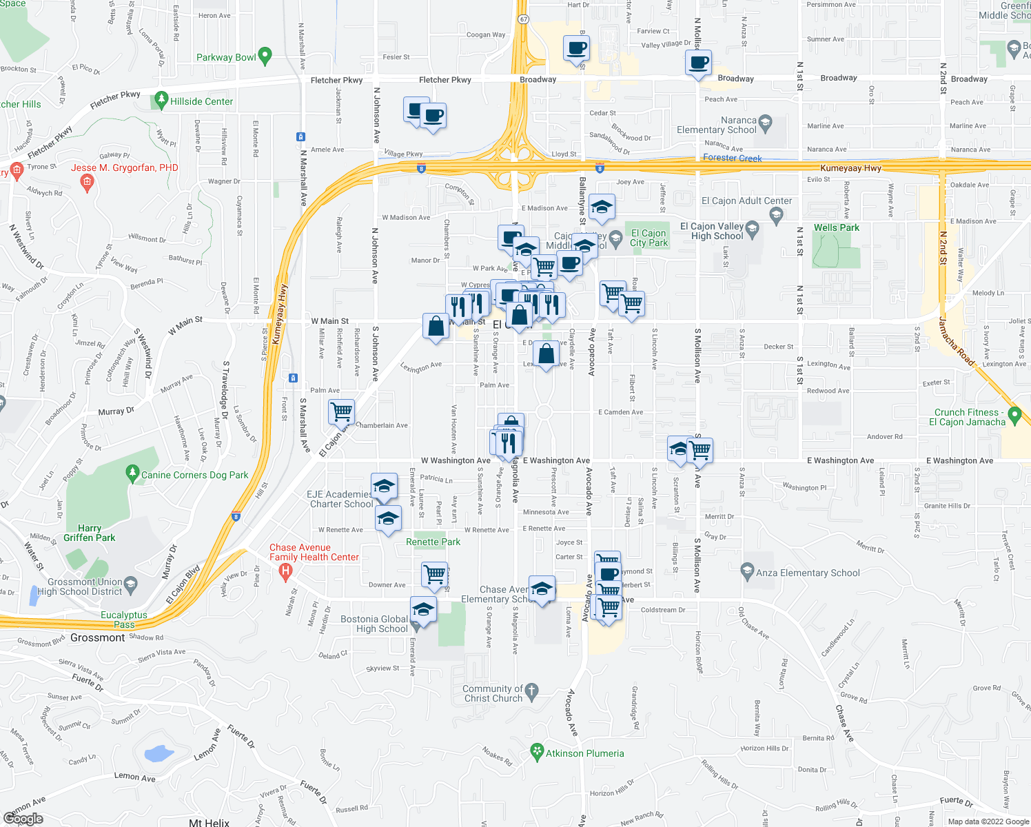 map of restaurants, bars, coffee shops, grocery stores, and more near 520 South Magnolia Avenue in El Cajon