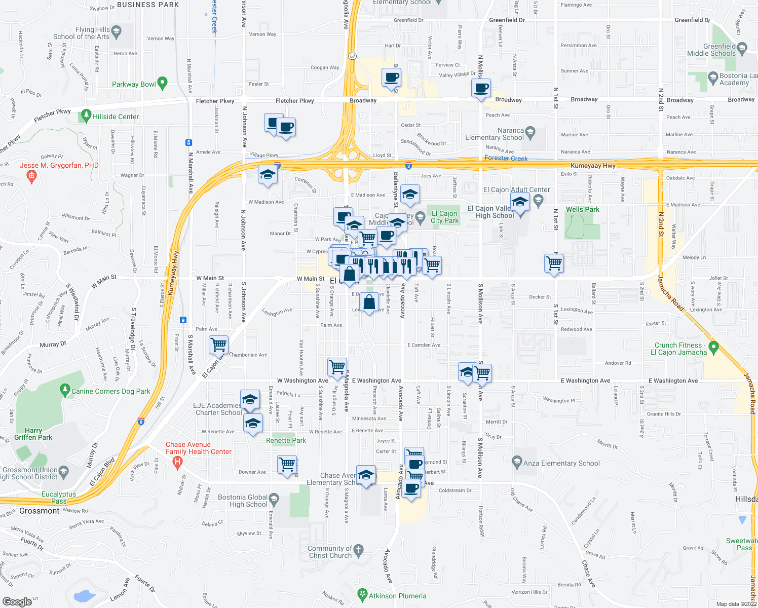 map of restaurants, bars, coffee shops, grocery stores, and more near 250 E Lexington Ave in El Cajon