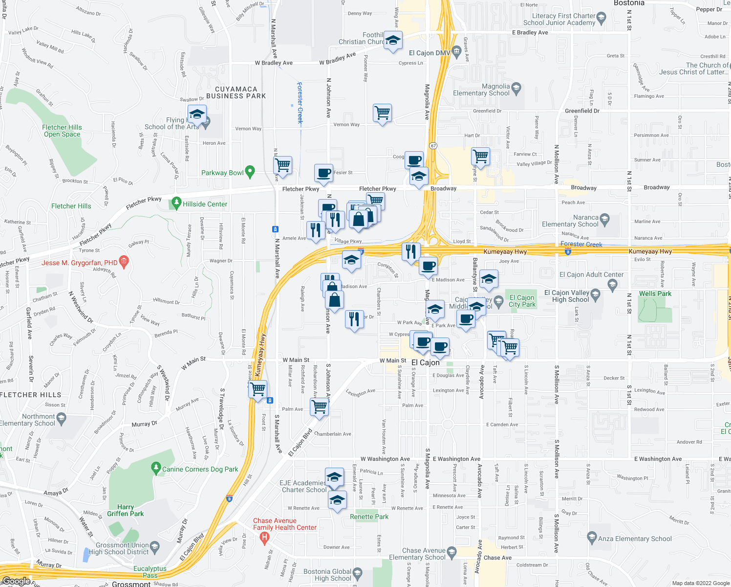 map of restaurants, bars, coffee shops, grocery stores, and more near 440 Chambers Street in El Cajon