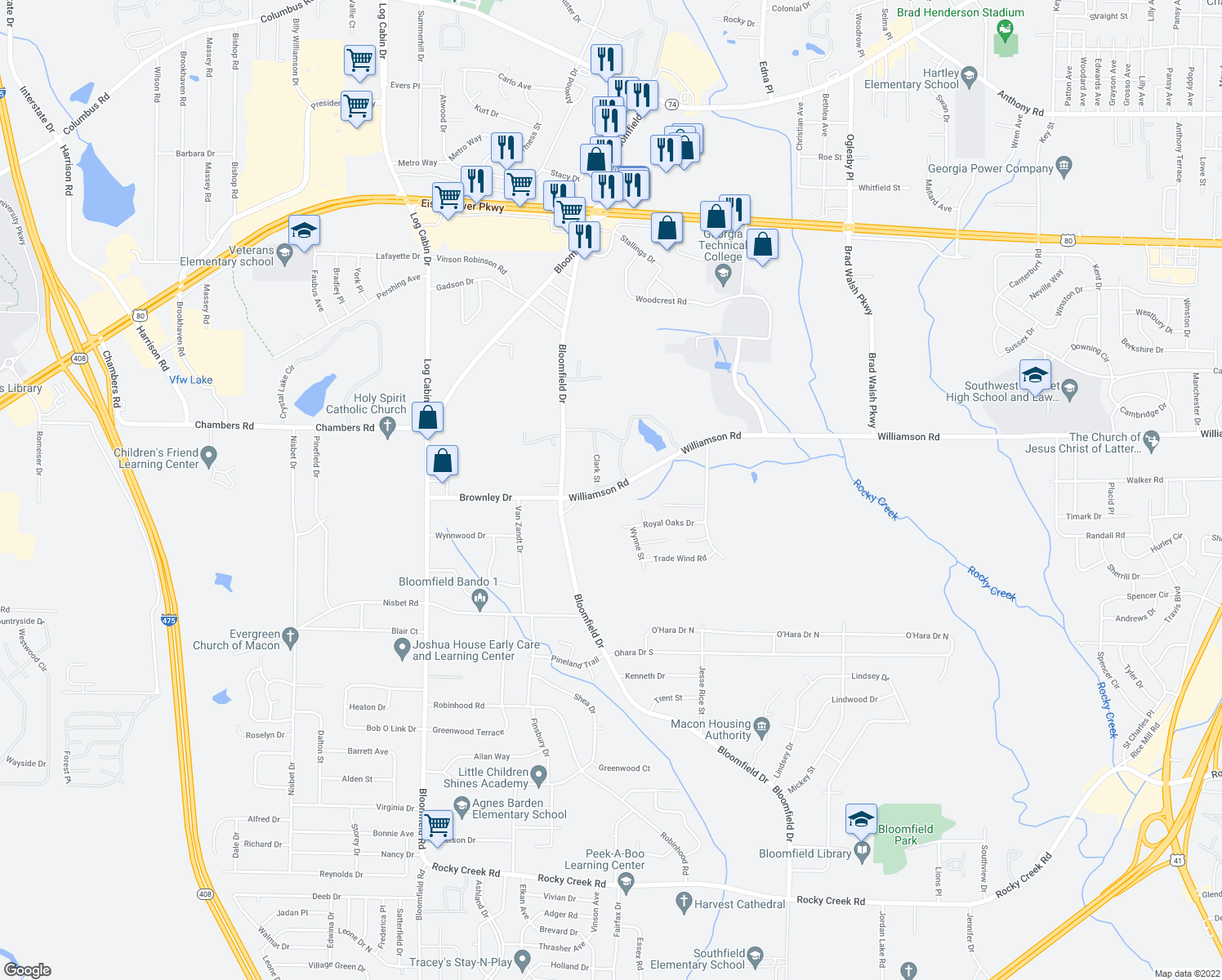 map of restaurants, bars, coffee shops, grocery stores, and more near 3500-3598 Williamson Road in Macon