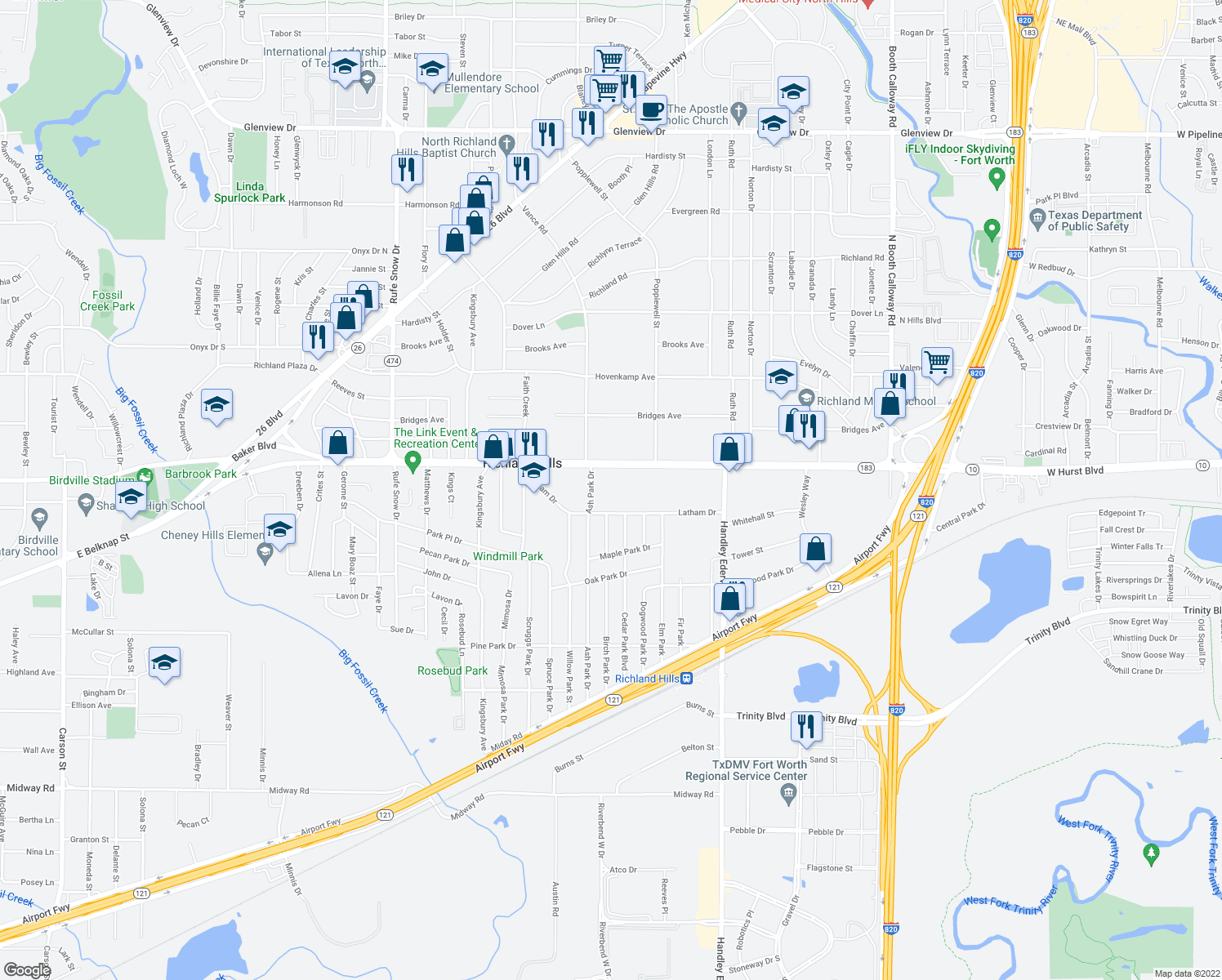 map of restaurants, bars, coffee shops, grocery stores, and more near 7120 Baker Blvd in Richland Hills