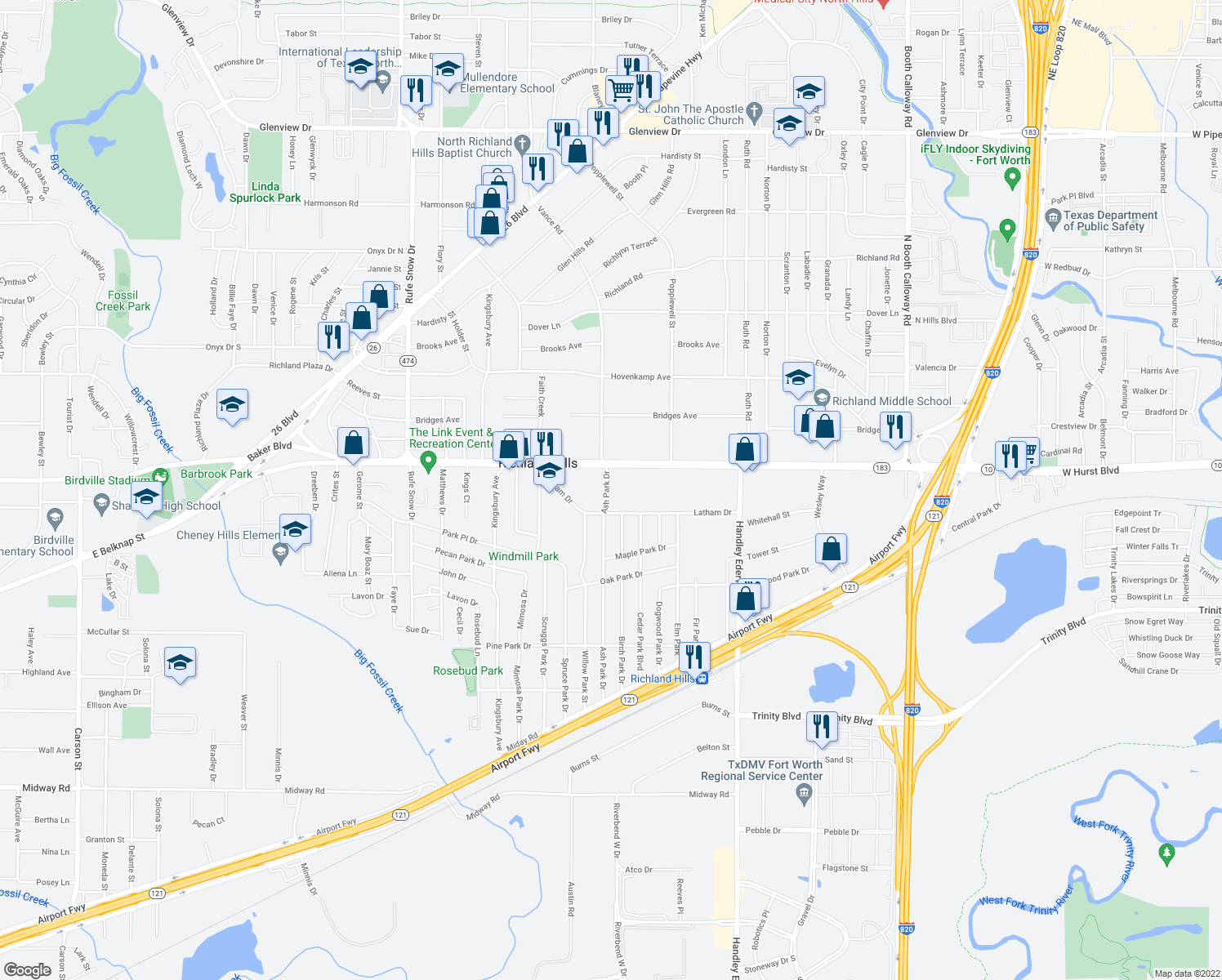 map of restaurants, bars, coffee shops, grocery stores, and more near 3201-3299 Ash Park Drive in Richland Hills