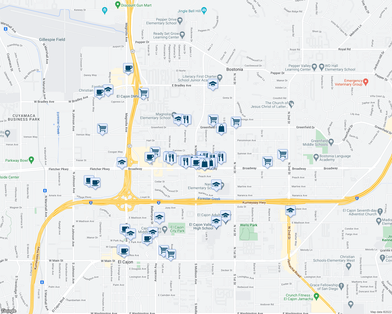 map of restaurants, bars, coffee shops, grocery stores, and more near North Mollison Avenue in El Cajon