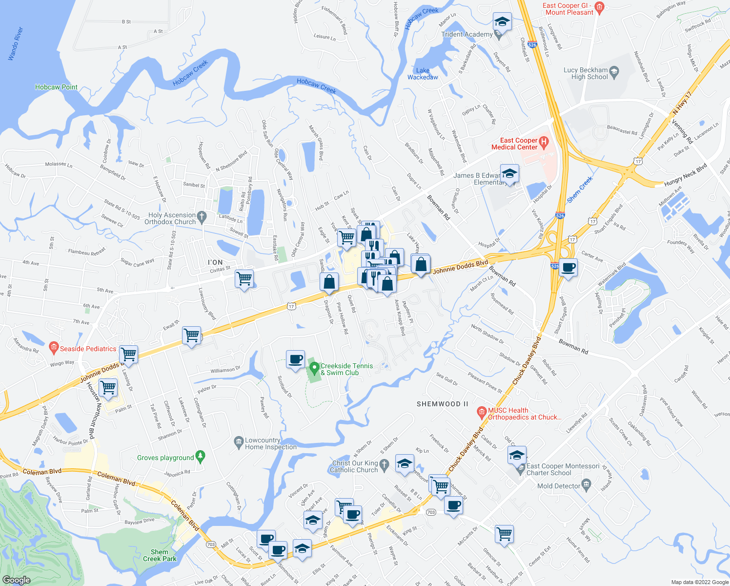 map of restaurants, bars, coffee shops, grocery stores, and more near 1035 Johnnie Dodds Boulevard in Mount Pleasant