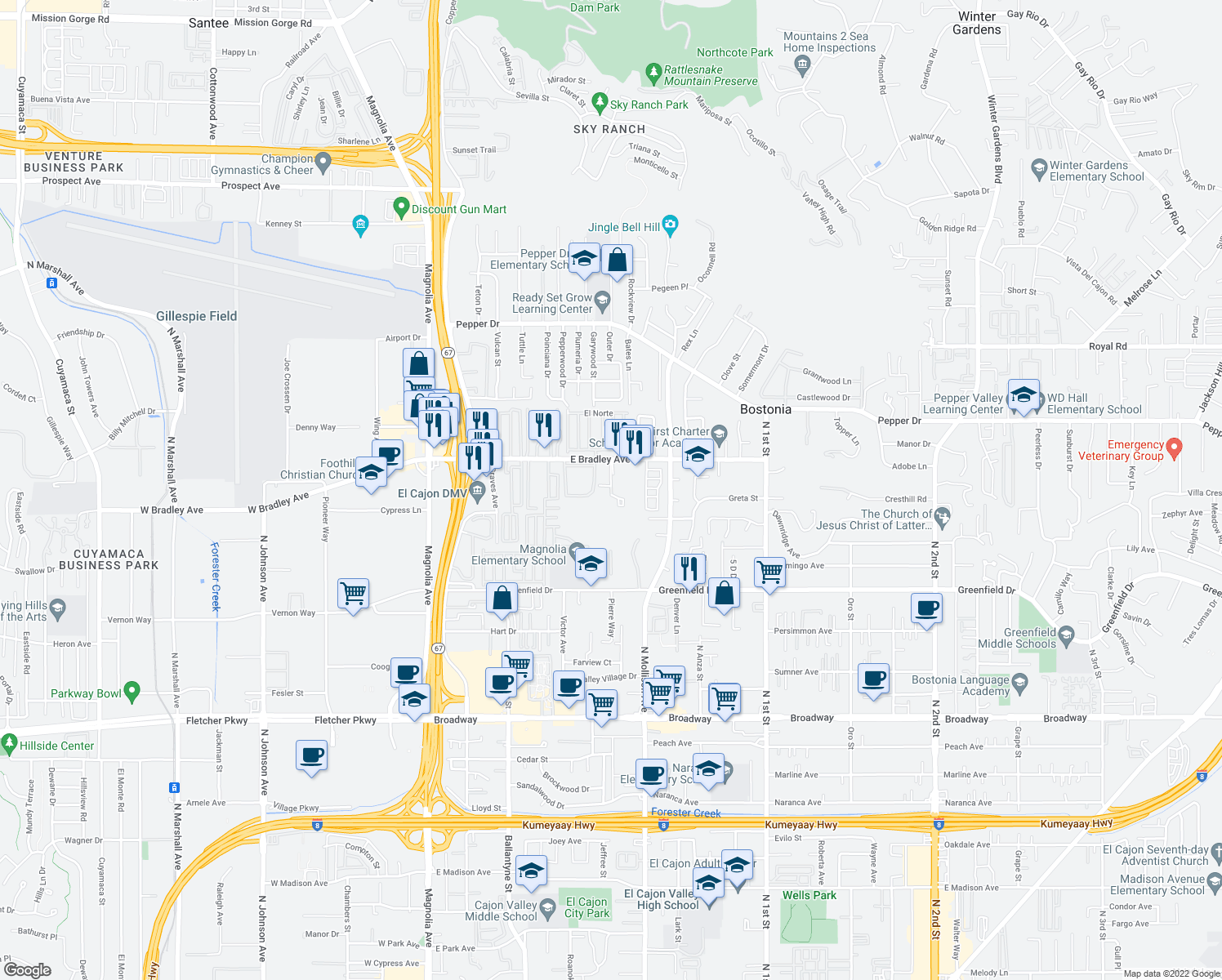 map of restaurants, bars, coffee shops, grocery stores, and more near 457 East Bradley Avenue in El Cajon