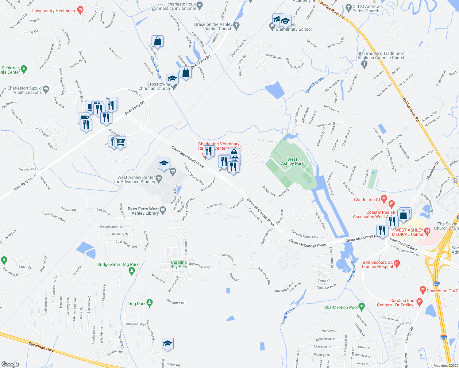 map of restaurants, bars, coffee shops, grocery stores, and more near 3381 Glenn McConnell Pkwy in Charleston