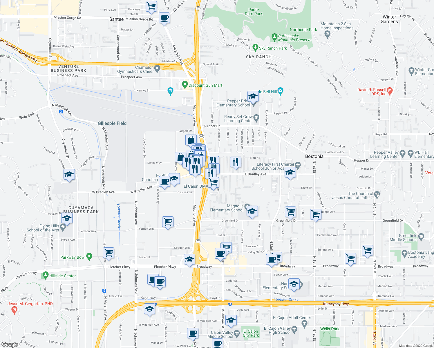map of restaurants, bars, coffee shops, grocery stores, and more near E Bradley Ave & Graves Ave in Bostonia