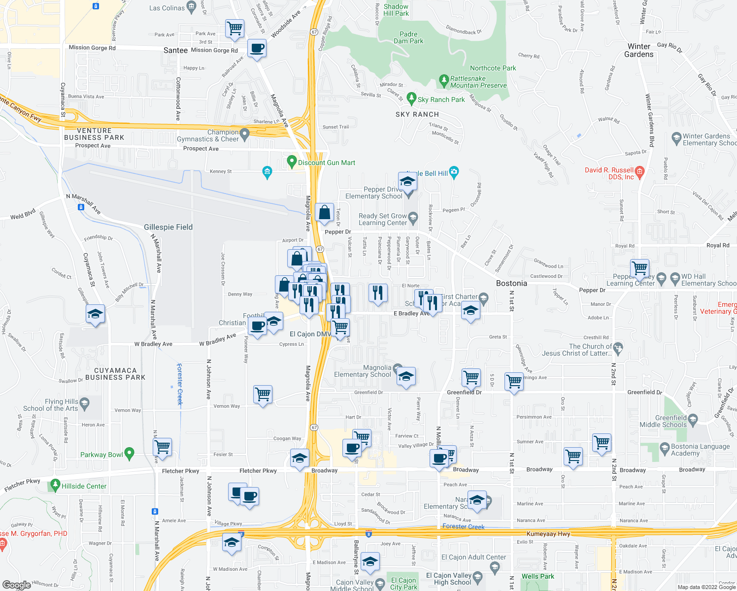 map of restaurants, bars, coffee shops, grocery stores, and more near 1505 Stone Edge Circle in El Cajon