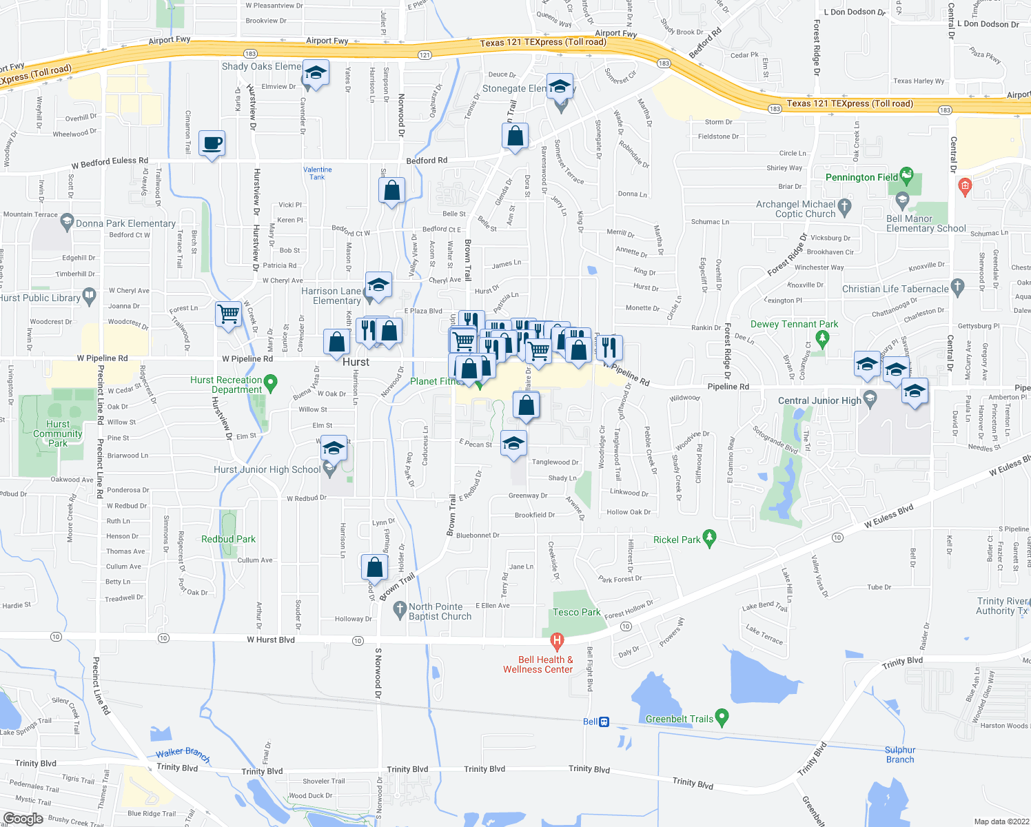 map of restaurants, bars, coffee shops, grocery stores, and more near 418 E Pipeline Rd in Hurst