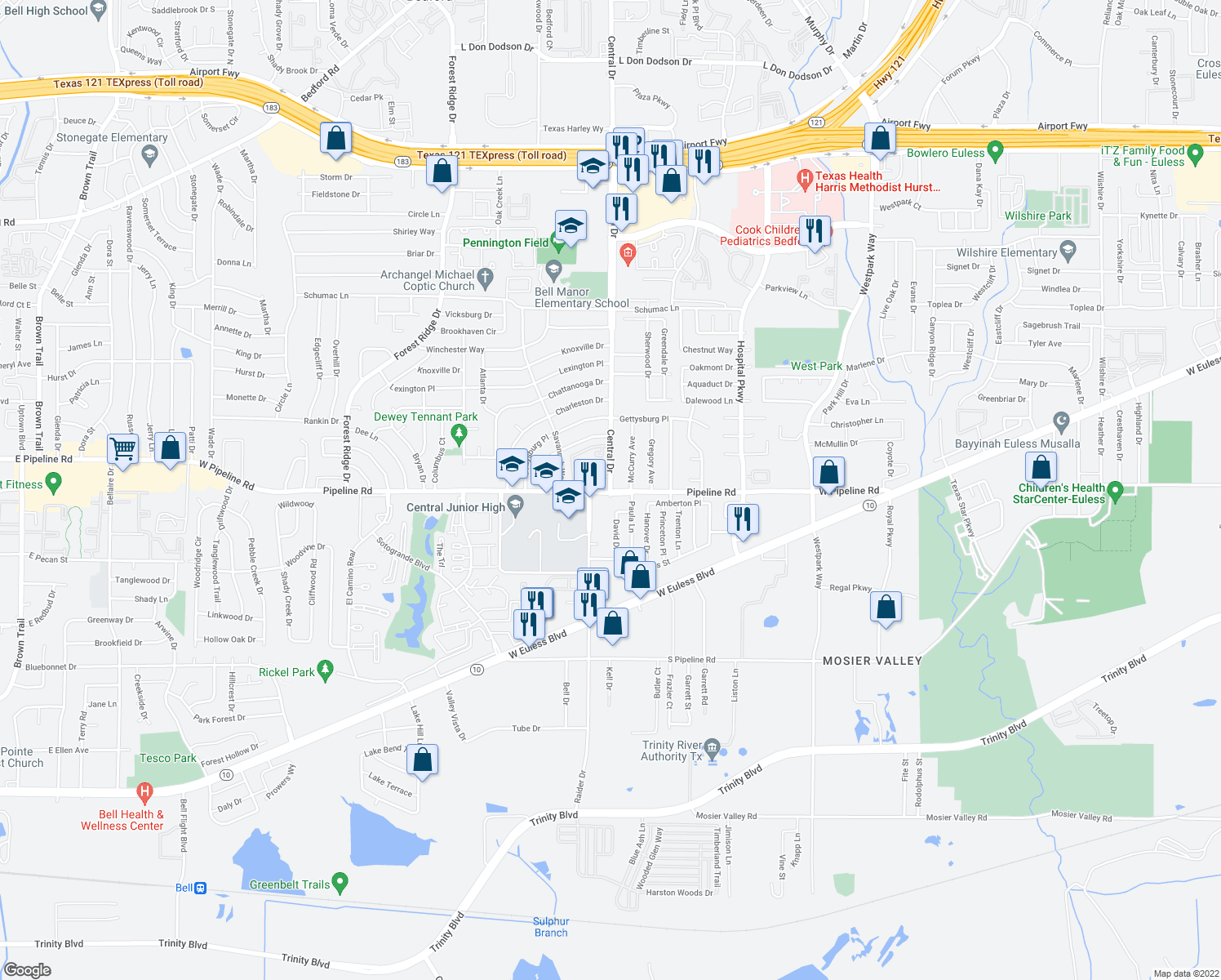 map of restaurants, bars, coffee shops, grocery stores, and more near 1101 Raider Drive in Euless