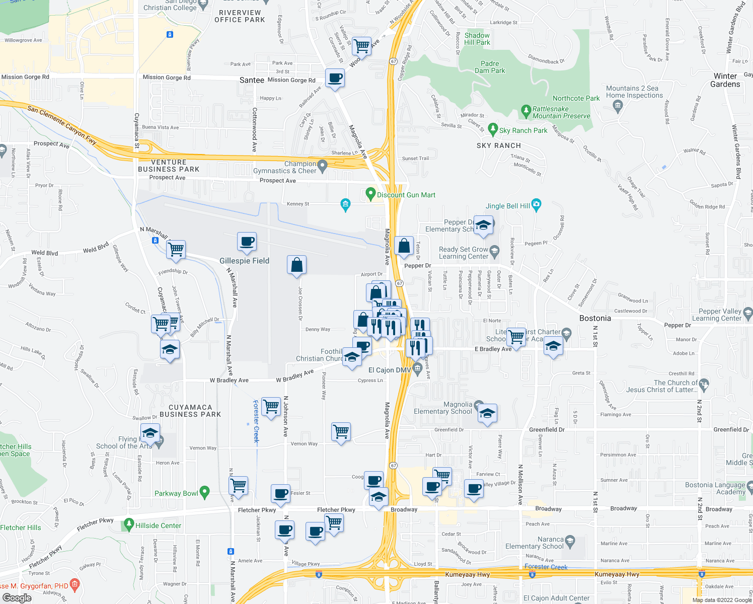 map of restaurants, bars, coffee shops, grocery stores, and more near 1666 North Magnolia Avenue in El Cajon
