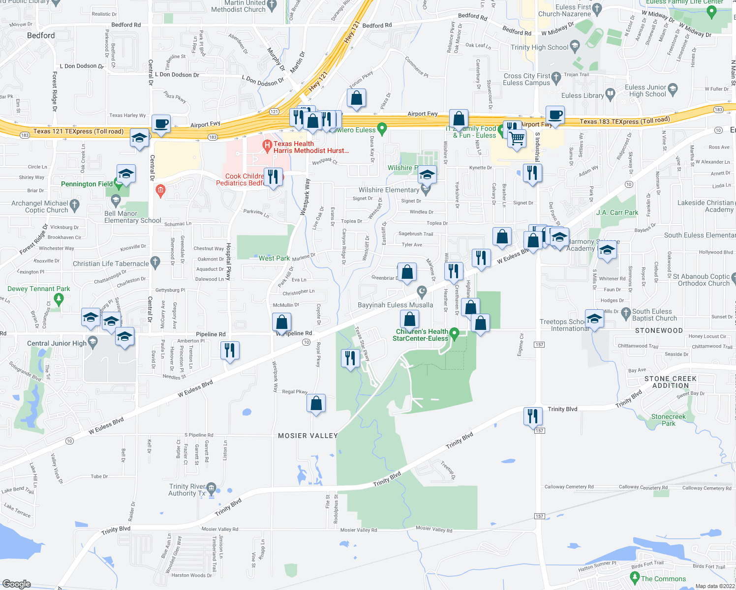 map of restaurants, bars, coffee shops, grocery stores, and more near 1902 Long Bow Trail in Euless