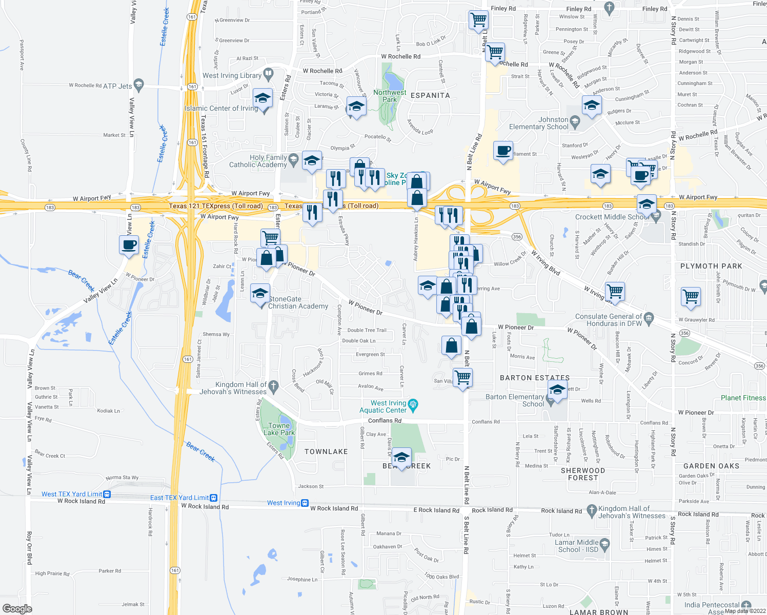 map of restaurants, bars, coffee shops, grocery stores, and more near 1830-1854 Estrada Parkway in Irving