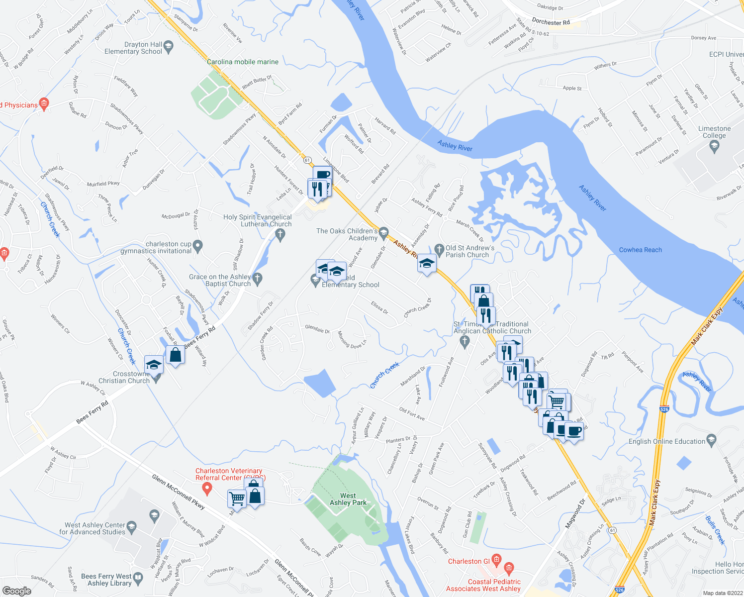 map of restaurants, bars, coffee shops, grocery stores, and more near 2648 Elissa Dr in Charleston