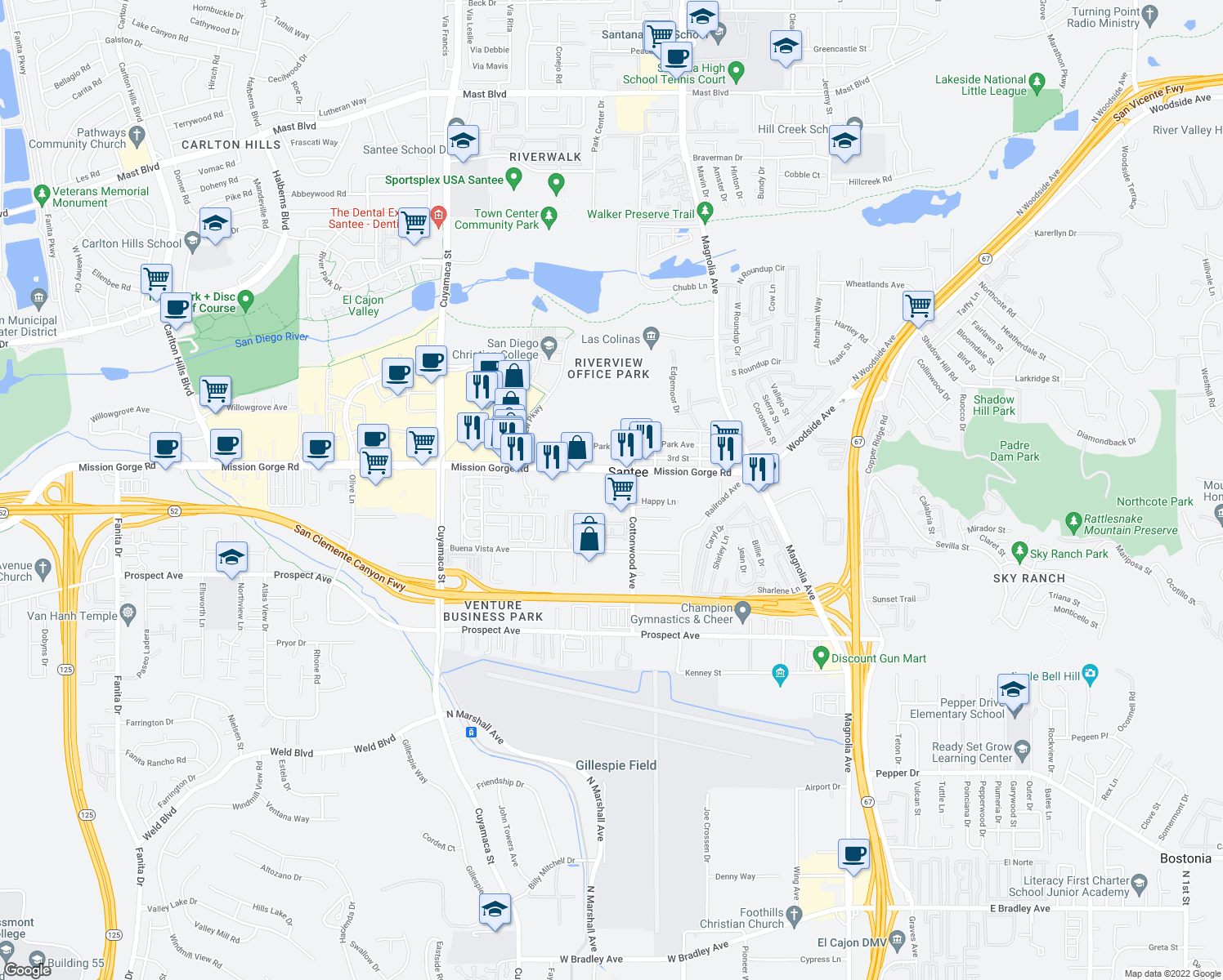 map of restaurants, bars, coffee shops, grocery stores, and more near in Santee