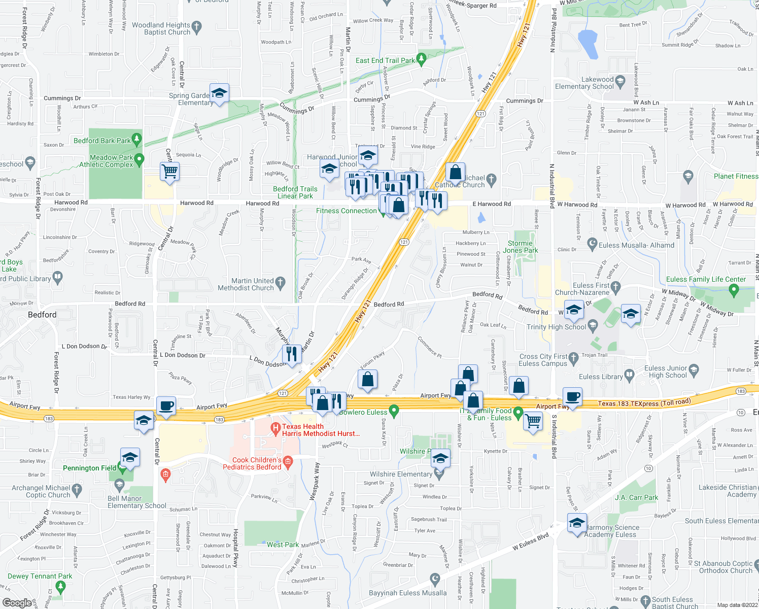 map of restaurants, bars, coffee shops, grocery stores, and more near 2304 Hwy 121 in Bedford