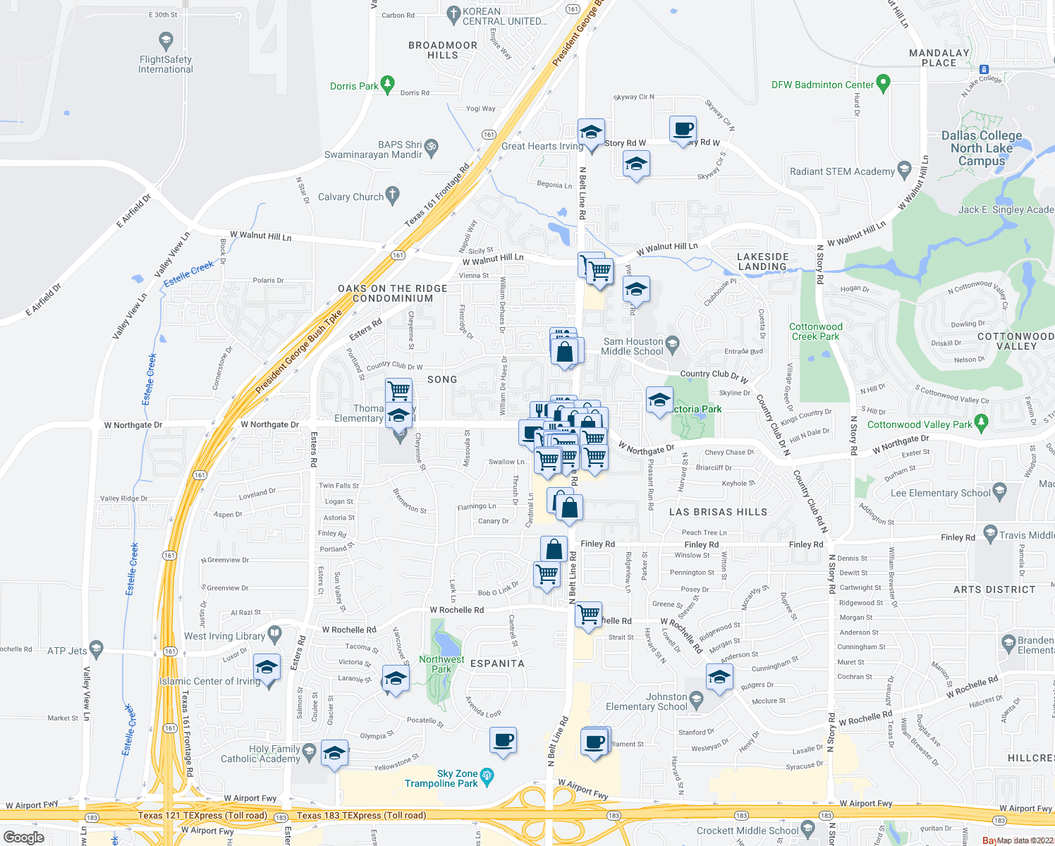map of restaurants, bars, coffee shops, grocery stores, and more near 3541 W Northgate Dr in Irving