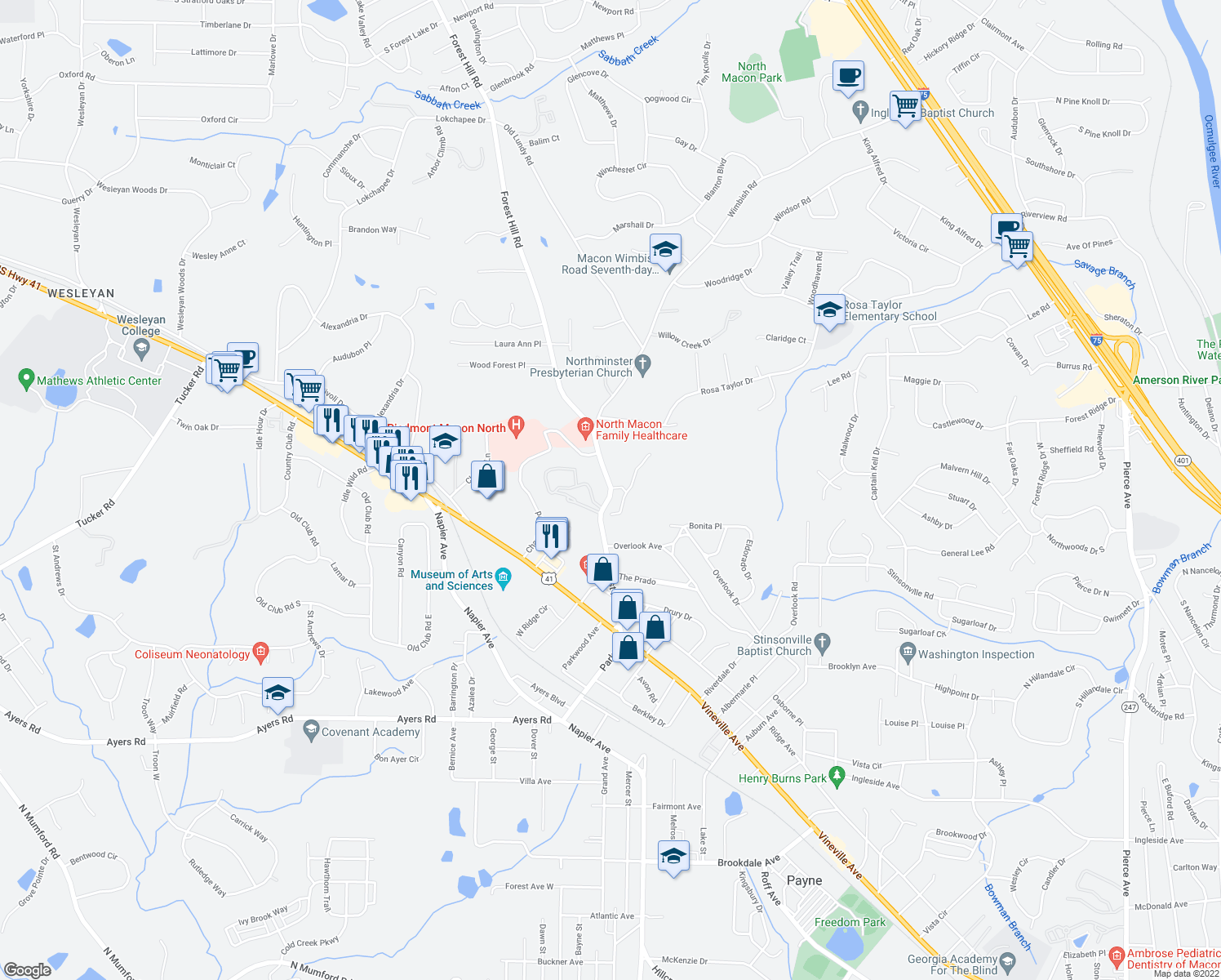 map of restaurants, bars, coffee shops, grocery stores, and more near 461-471 Forest Hill Road in Macon