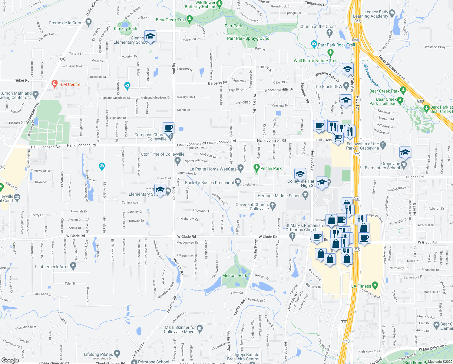 map of restaurants, bars, coffee shops, grocery stores, and more near 3316 Briar Cove in Grapevine