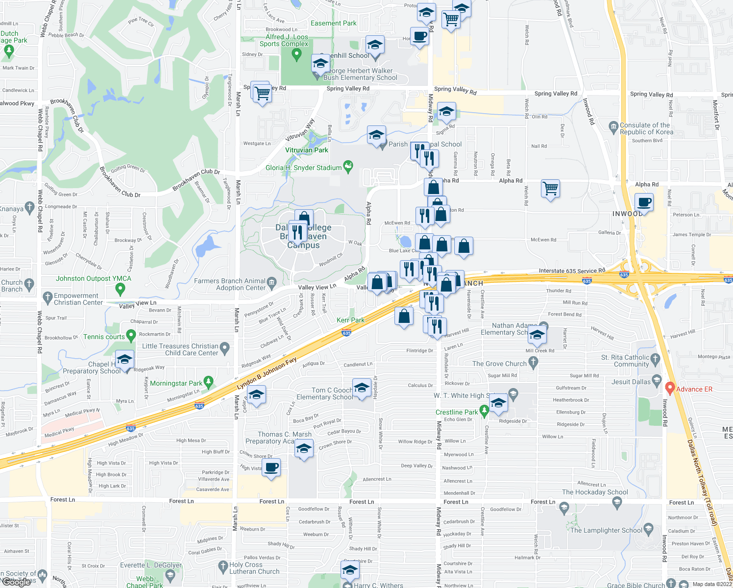 map of restaurants, bars, coffee shops, grocery stores, and more near 13201-13299 St Lawrence Cir in Farmers Branch