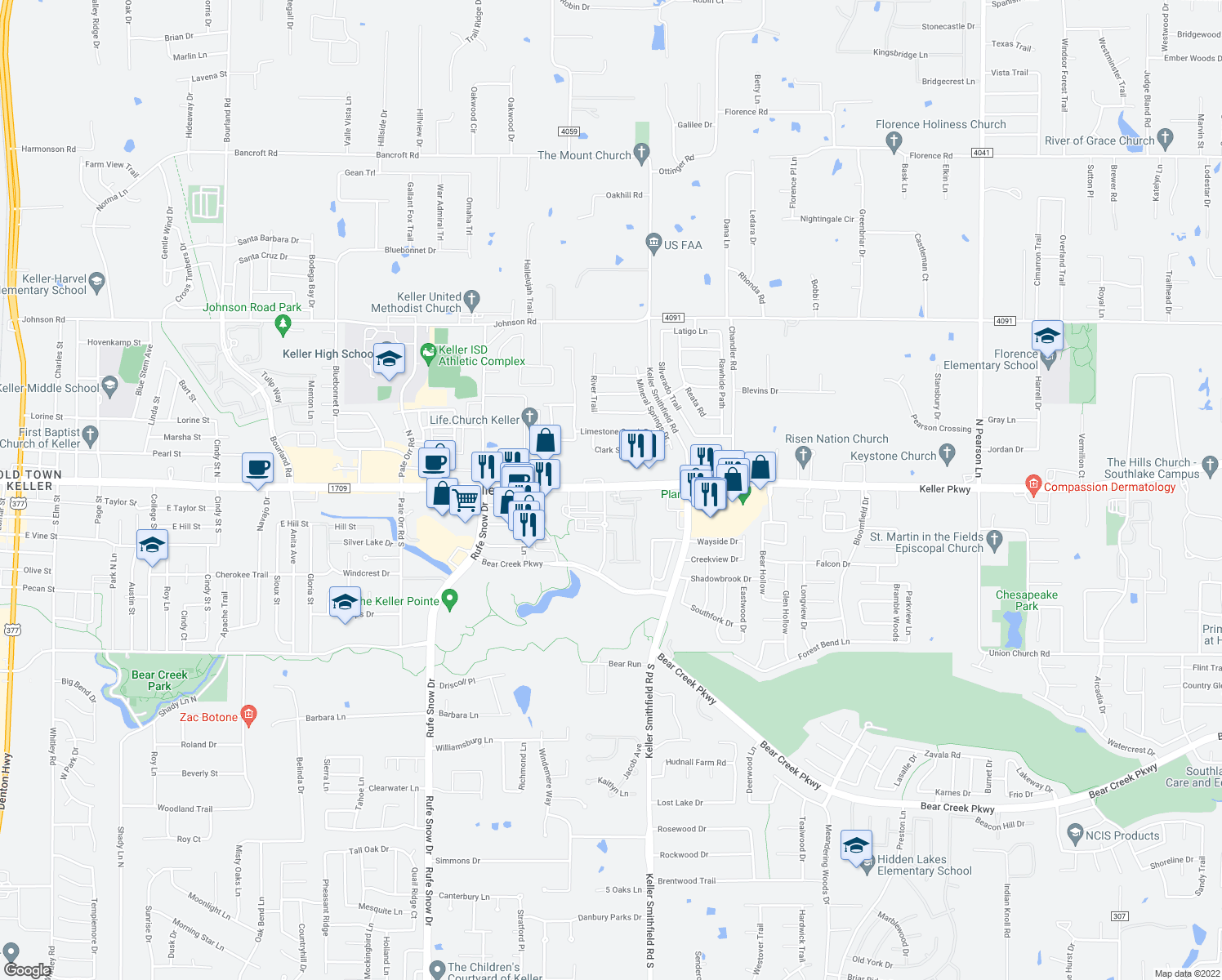 map of restaurants, bars, coffee shops, grocery stores, and more near 100 Country Brook Drive in Keller