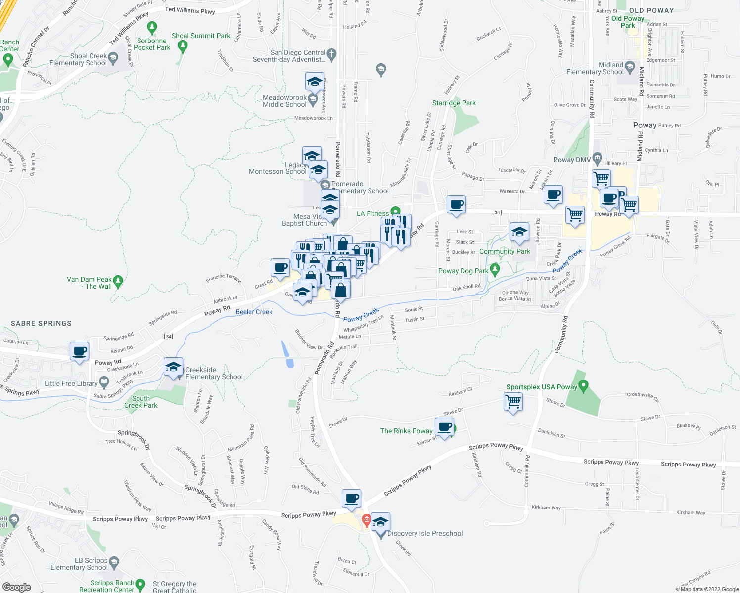 map of restaurants, bars, coffee shops, grocery stores, and more near 12430-12510 Oak Knoll Rd in Poway