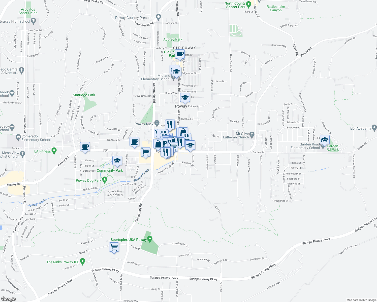 map of restaurants, bars, coffee shops, grocery stores, and more near Poway Rd in Poway