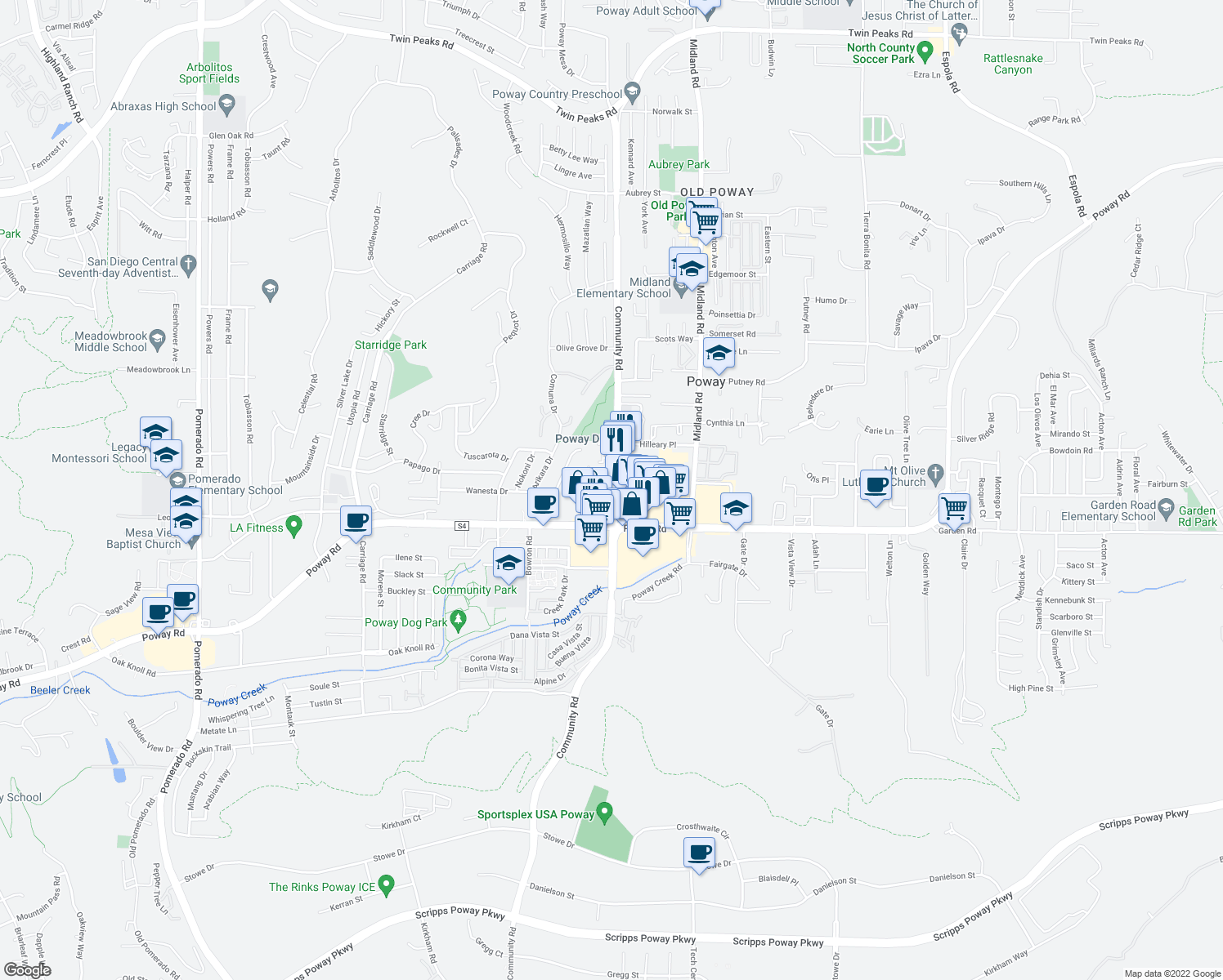 map of restaurants, bars, coffee shops, grocery stores, and more near 13319-13339 Community Road in Poway
