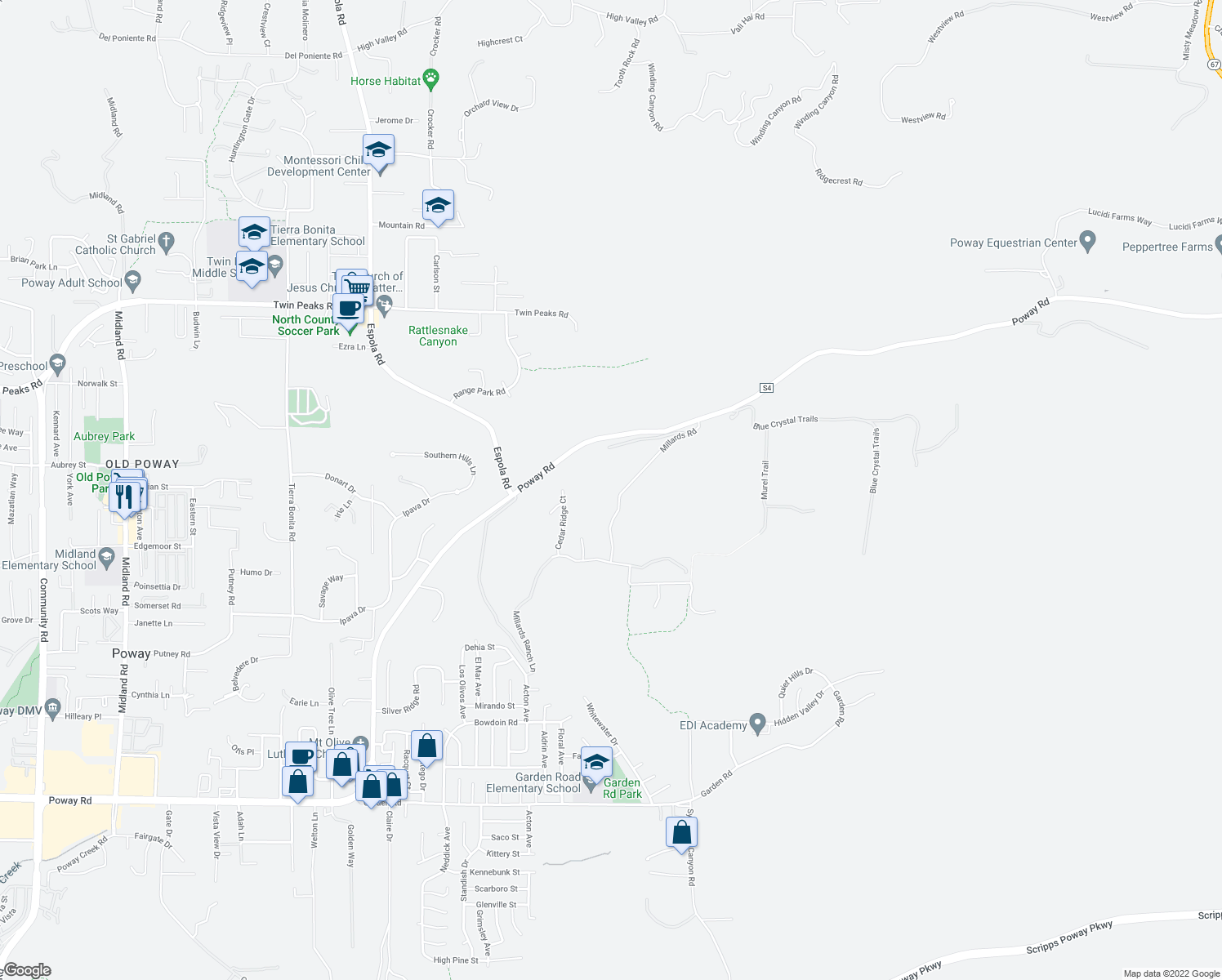 map of restaurants, bars, coffee shops, grocery stores, and more near 14574 Millards Road in Poway