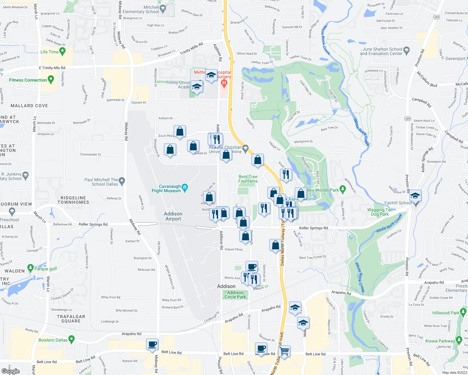 map of restaurants, bars, coffee shops, grocery stores, and more near 16309-16351 Ledgemont Lane in Addison