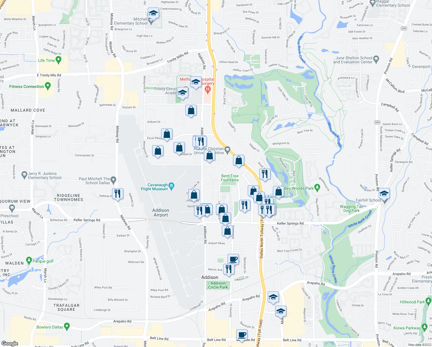 map of restaurants, bars, coffee shops, grocery stores, and more near 4820 Westgrove Dr in Addison