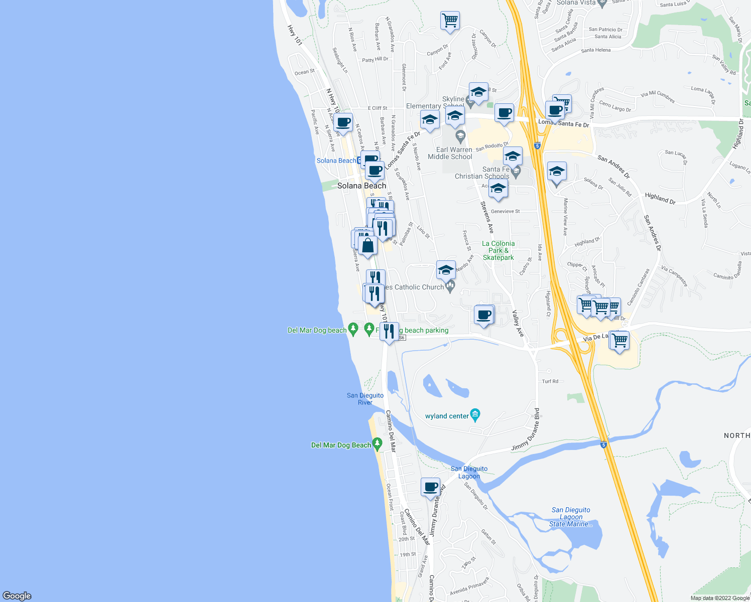 map of restaurants, bars, coffee shops, grocery stores, and more near 717 South Highway 101 in Solana Beach