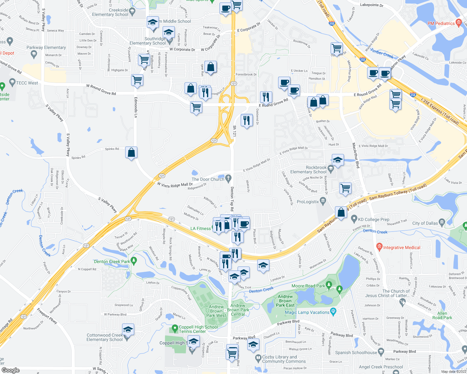 map of restaurants, bars, coffee shops, grocery stores, and more near 2741-2805 Denton Tap Rd in Lewisville