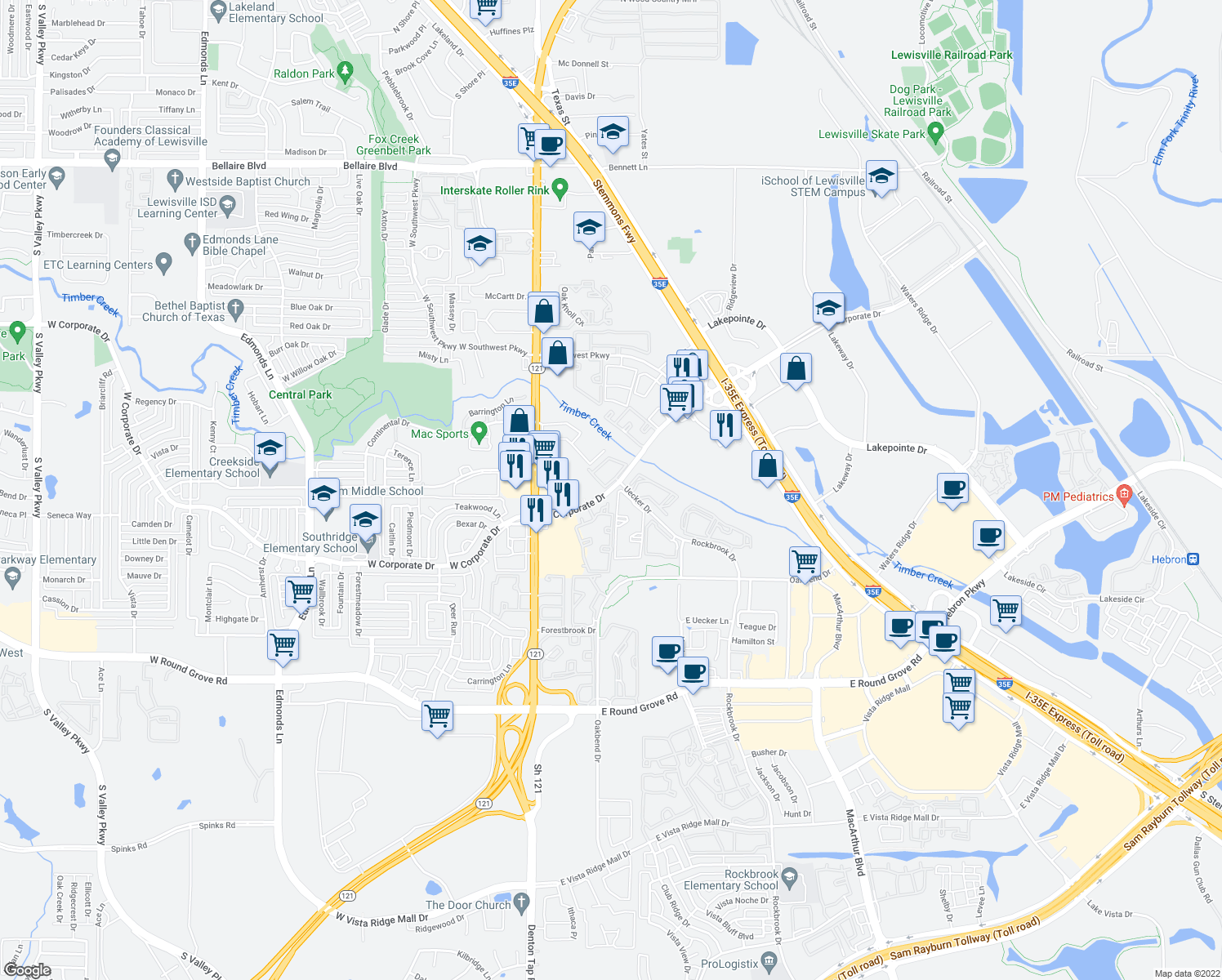 map of restaurants, bars, coffee shops, grocery stores, and more near 300-634 S Uecker Ln in Lewisville
