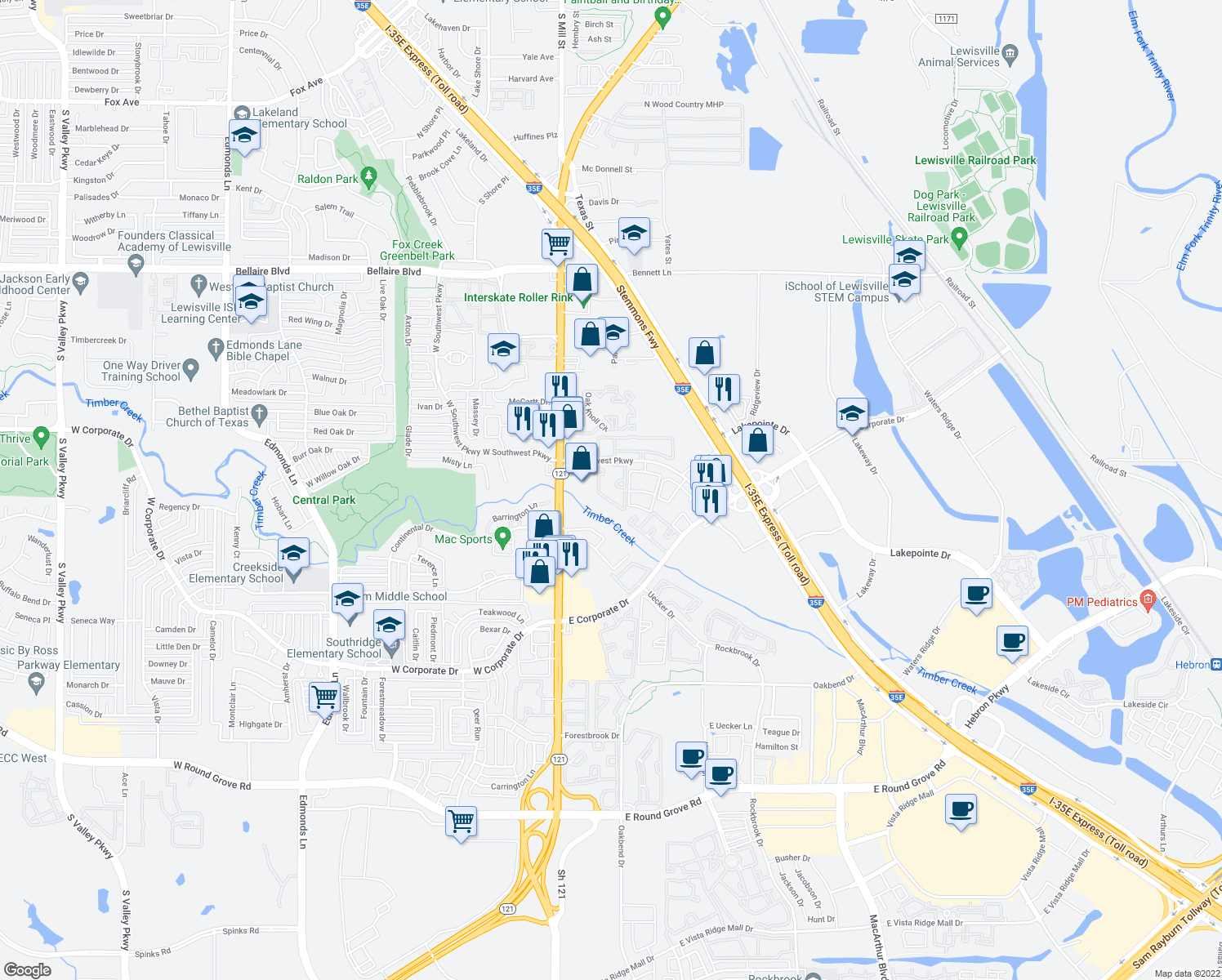 map of restaurants, bars, coffee shops, grocery stores, and more near 248 E Southwest Pkwy in Lewisville