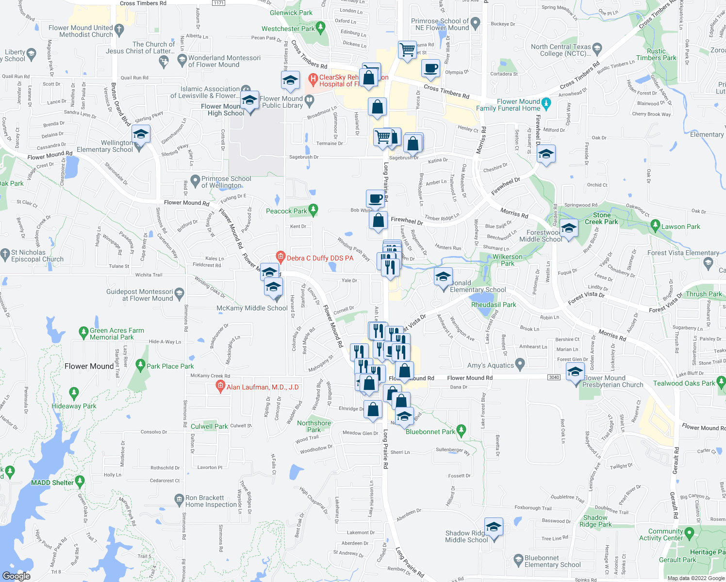 map of restaurants, bars, coffee shops, grocery stores, and more near 2512 Cornell Drive in Flower Mound