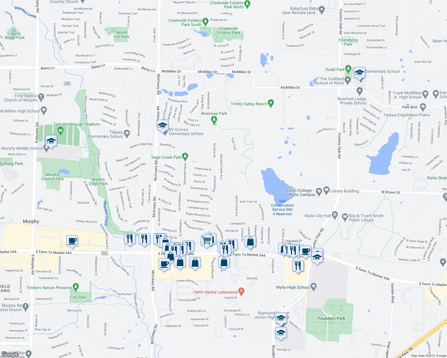 map of restaurants, bars, coffee shops, grocery stores, and more near 406 Wooded Creek Avenue in Wylie