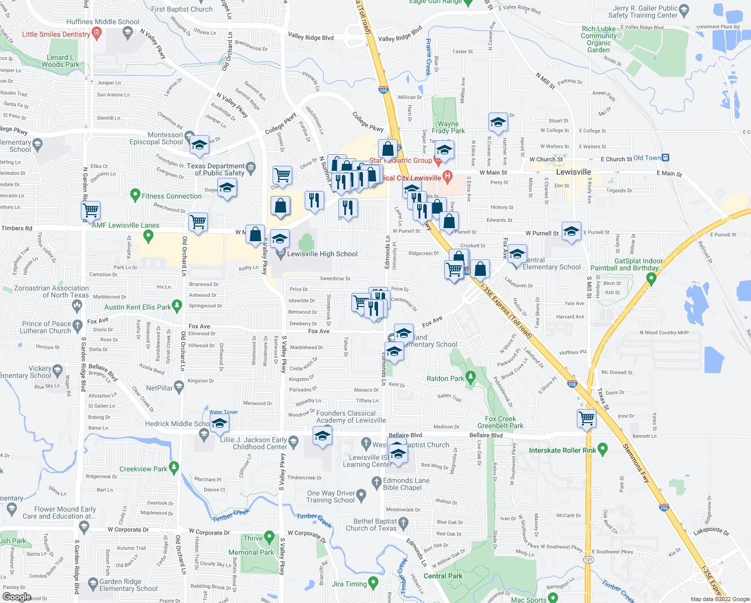 map of restaurants, bars, coffee shops, grocery stores, and more near 318 Price Dr in Lewisville