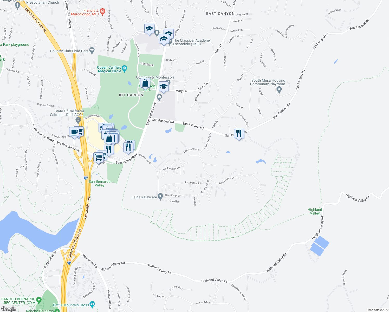 map of restaurants, bars, coffee shops, grocery stores, and more near 843 Calle Talentia in Escondido