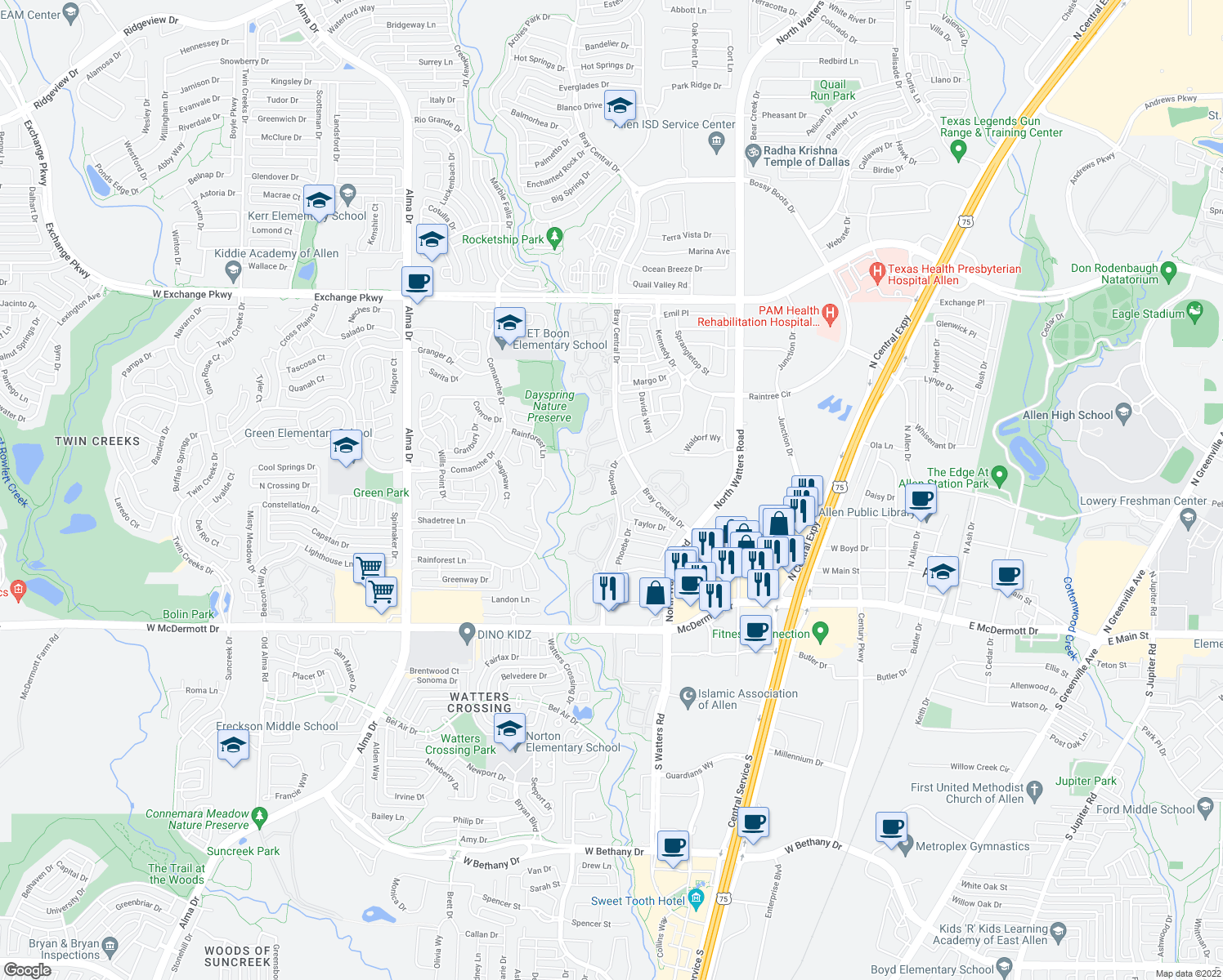 map of restaurants, bars, coffee shops, grocery stores, and more near 538-634 Benton Dr in Allen