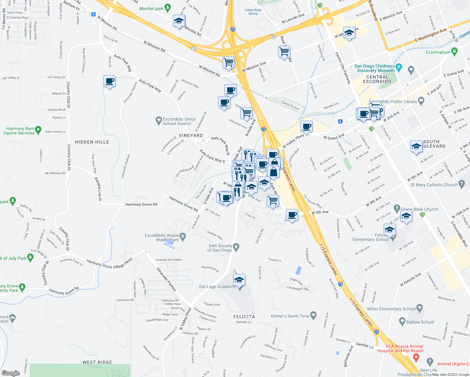 map of restaurants, bars, coffee shops, grocery stores, and more near Windsor Place in Escondido