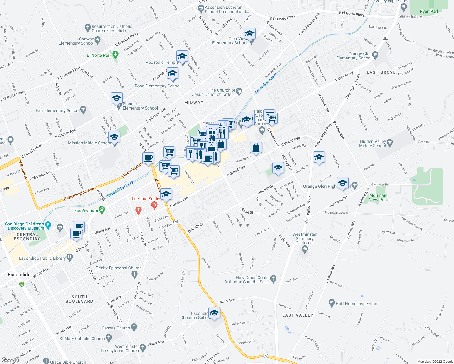 map of restaurants, bars, coffee shops, grocery stores, and more near 124-158 South Rose Street in Escondido