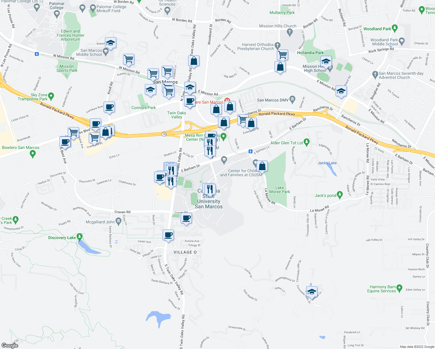 map of restaurants, bars, coffee shops, grocery stores, and more near Campus Way in San Marcos