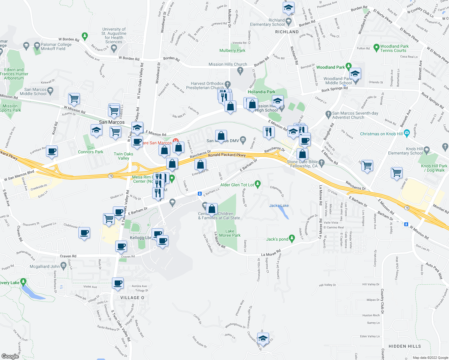 map of restaurants, bars, coffee shops, grocery stores, and more near 526 East Barham Drive in San Marcos