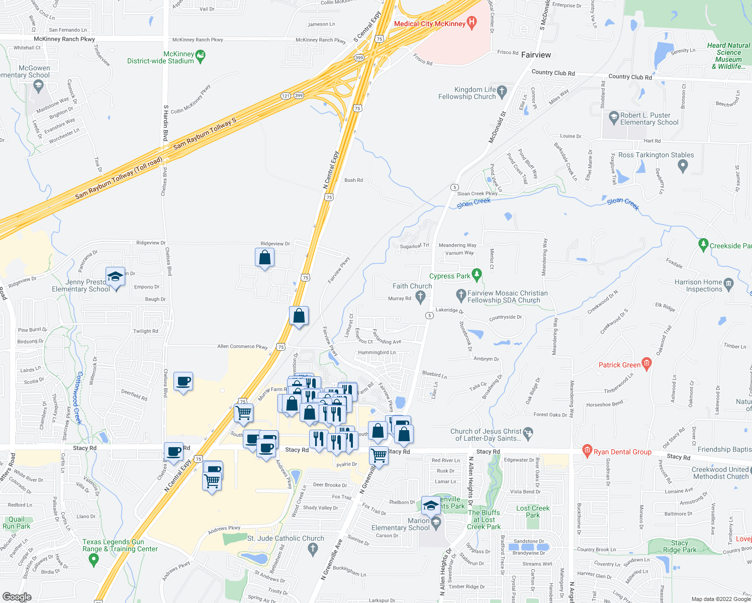 map of restaurants, bars, coffee shops, grocery stores, and more near 366 Spring Meadow Drive in Fairview