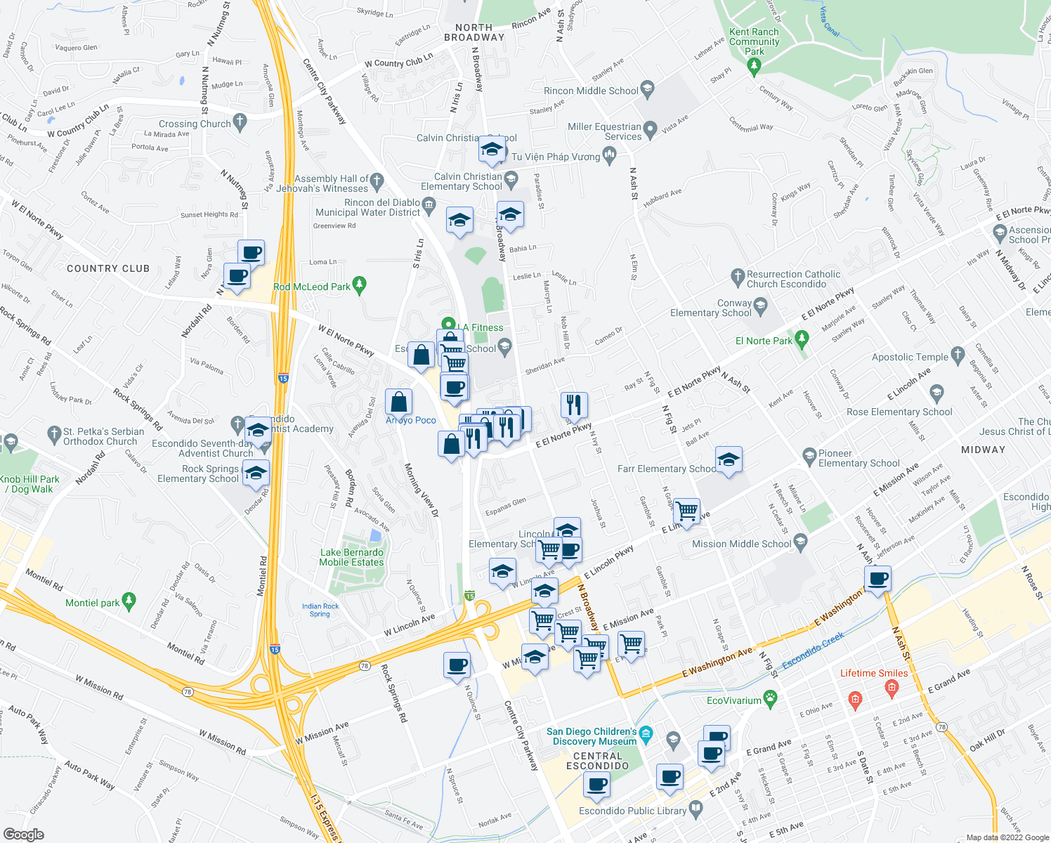map of restaurants, bars, coffee shops, grocery stores, and more near 1353-1375 N Broadway in Escondido