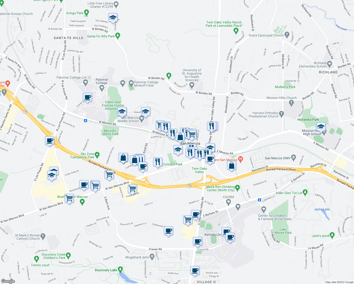 map of restaurants, bars, coffee shops, grocery stores, and more near 330 W Mission Rd in San Marcos