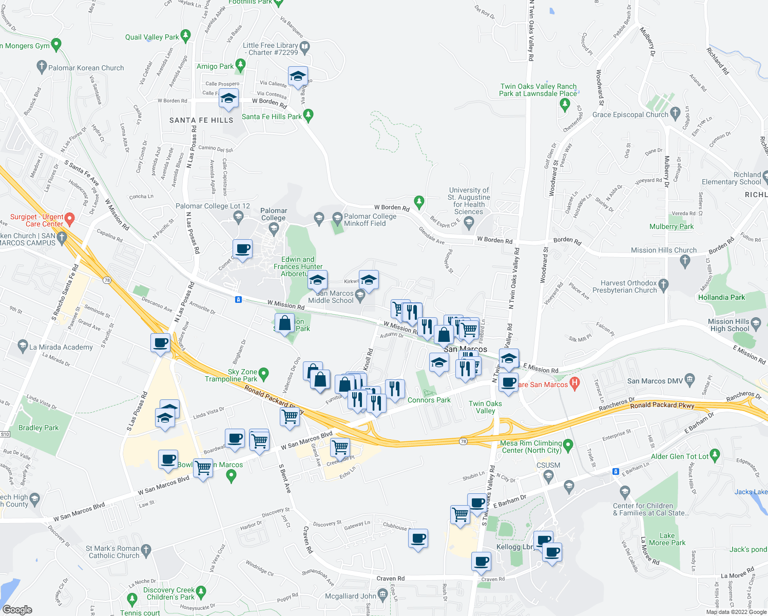 map of restaurants, bars, coffee shops, grocery stores, and more near 546 West Mission Road in San Marcos