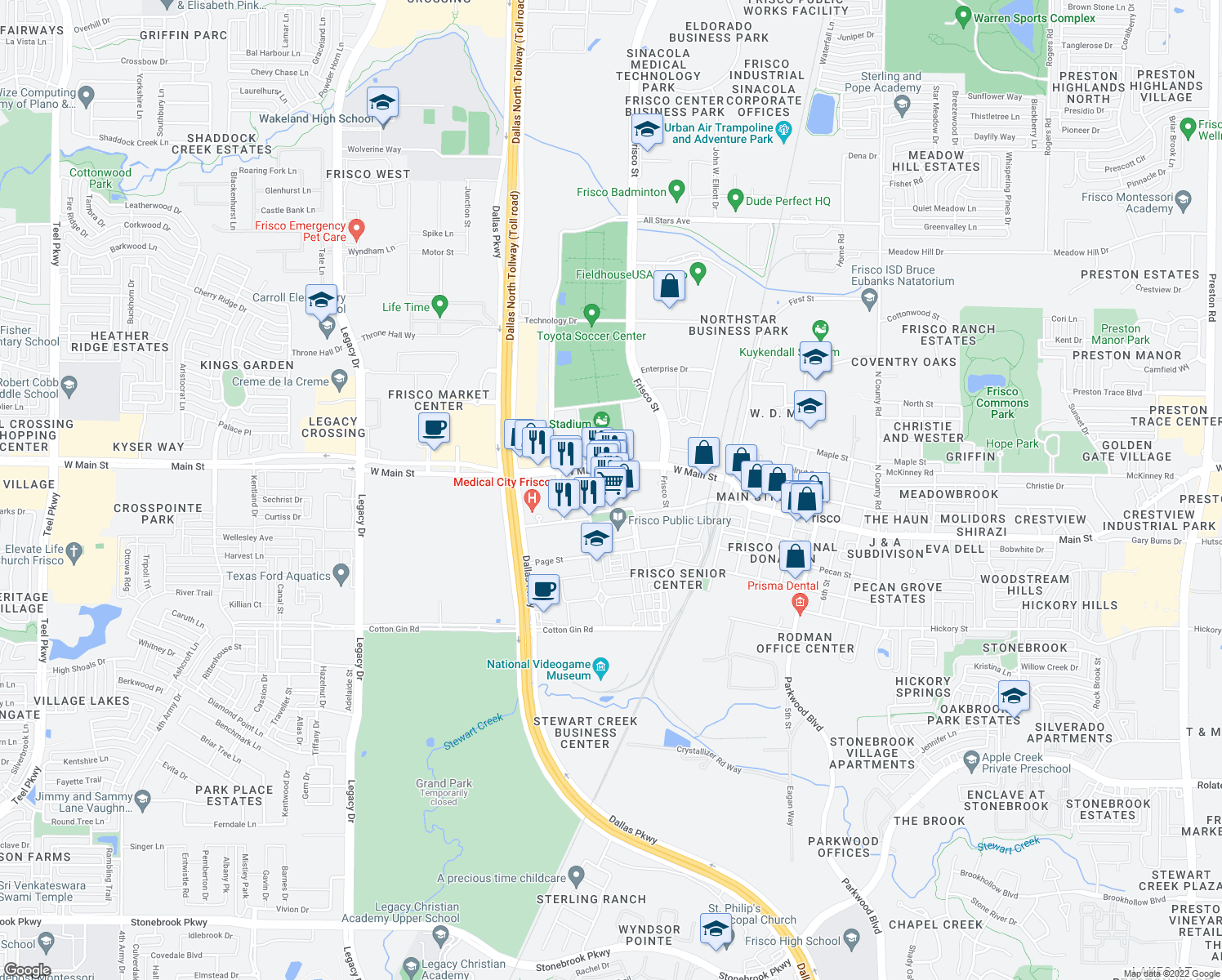 map of restaurants, bars, coffee shops, grocery stores, and more near 6064 Frisco Square Boulevard in Frisco